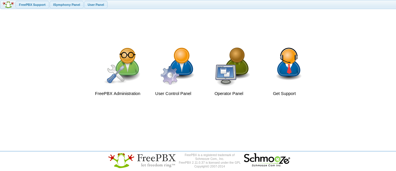 FreePBX Management Portal Home