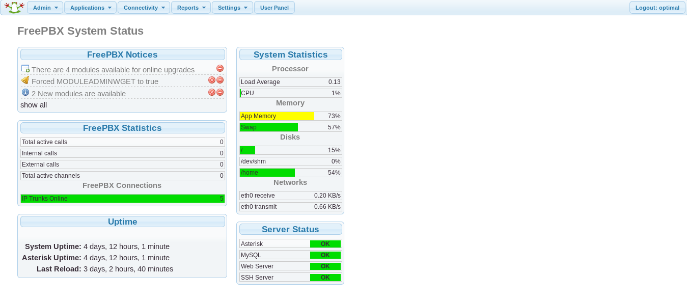 FreePBX Management Portal - Status